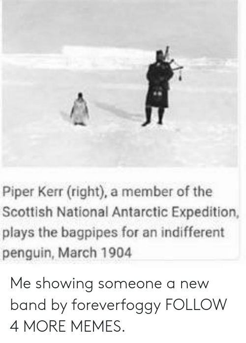 Kerr: Piper Kerr (right), a member of the  Scottish National Antarctic Expedition,  plays the bagpipes for an indifferent  penguin, March 1904 Me showing someone a new band by foreverfoggy FOLLOW 4 MORE MEMES.