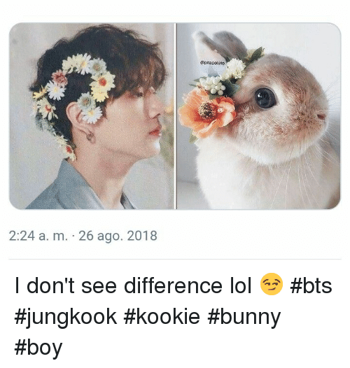 Kookie: @pitapoteto  2:24 a. m. 26 ago. 2018 I don't see difference lol 😏 #bts #jungkook #kookie #bunny #boy