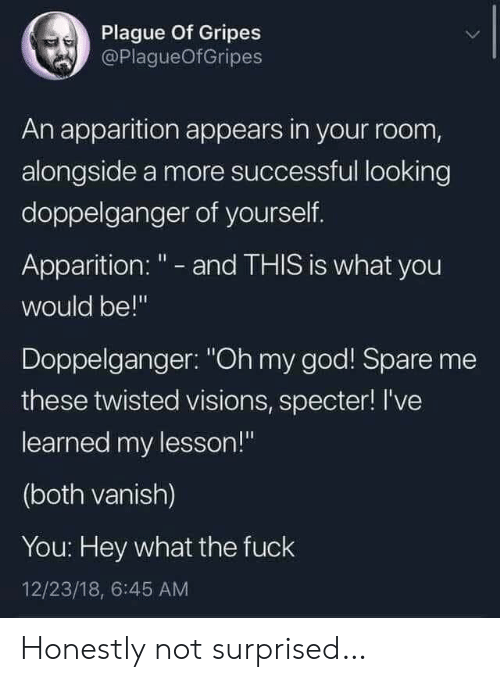 """Doppelganger, God, and Oh My God: Plague Of Gripes  @PlagueOfGripes  An apparition appears in your room,  alongside a more successful looking  doppelganger of yourself.  Apparition: """" - and THIS is what you  would be!""""  Doppelganger: """"Oh my god! Spare me  these twisted visions, specter! I've  learned my lesson!""""  (both vanish)  You: Hey what the fuck  12/23/18, 6:45 AM Honestly not surprised…"""