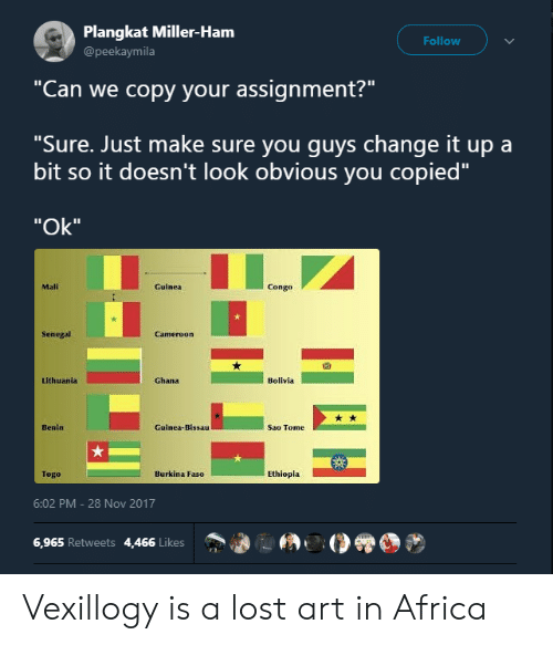 "Change It Up A Bit: Plangkat Miller-Ham  @peekaymila  Follow  ""Can we copy your assignment?""  ""Sure. Just make sure you quvs change it up a  bit so it doesn't look obvious you copied""  ""Ok""  Mali  Guinea  Congo  Senegal  囧  Lithuania  Ghana  Bolivla  Benin  Guinea-Bissau  Sao Tome  Togo  Burkina Faso  Ethiopla  6:02 PM-28 Nov 2017  6,965 Retweets 4,466 Likes Vexillogy is a lost art in Africa"
