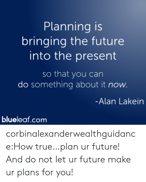 Do Something About: Planning is  bringing the future  into the present  so that you can  do something about it now.  Alan Lakein  blueleaf.com corbinalexanderwealthguidance:How true…plan ur future! And do not let ur future make ur plans for you!