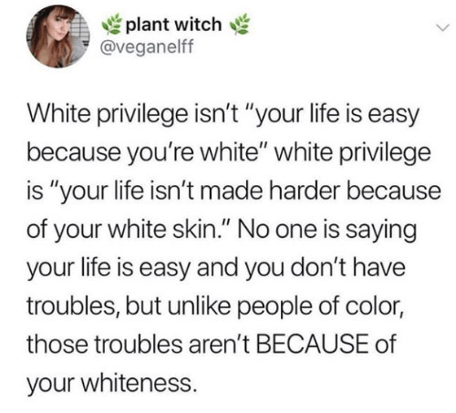 "Life, White, and White Privilege: plant witch  @veganelff  White privilege isn't ""your life is easy  because you're white"" white privilege  is ""your life isn't made harder because  of your white skin."" No one is saying  your life is easy and you don't have  troubles, but unlike people of color  those troubles aren't BECAUSE of  your whiteness."