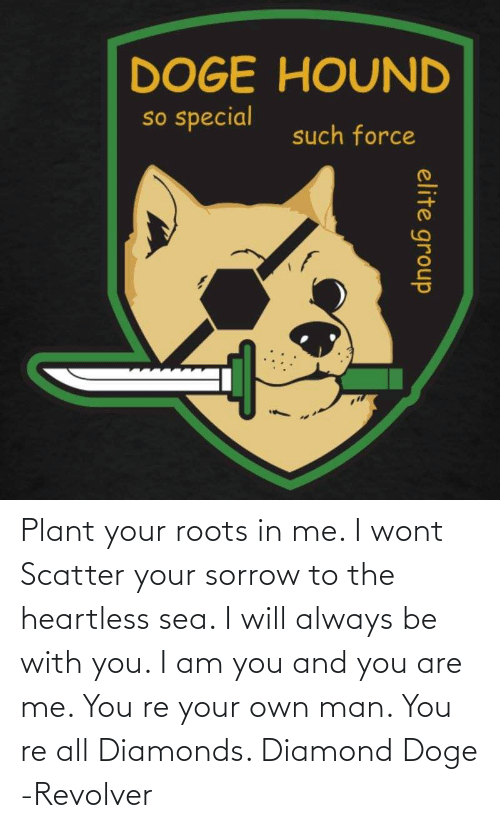 And You Are: Plant your roots in me. I wont Scatter your sorrow to the heartless sea. I will always be with you. I am you and you are me. You re your own man. You re all Diamonds. Diamond Doge -Revolver
