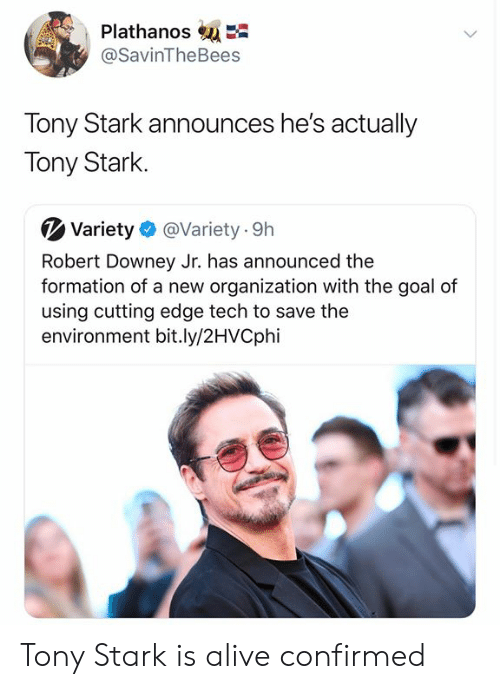 Alive, Robert Downey Jr., and Formation: PlathanosE  @SavinTheBees  Tony Stark announces he's actually  Tony Stark  Variety  @Variety 9h  Robert Downey Jr. has announced the  formation of a new organization with the goal of  using cutting edge tech to save the  environment bit.ly/2HVCphi Tony Stark is alive confirmed