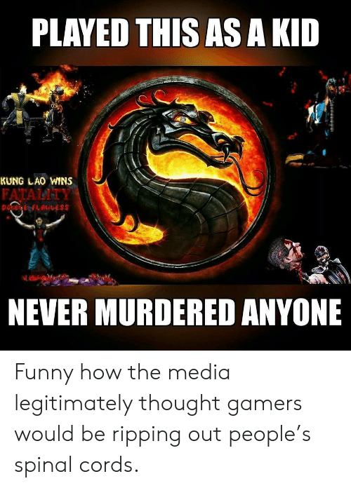 Funny, Never, and Thought: PLAYED THIS AS A KID  KUNG LAO WINS  FATALITY  NEVER MURDERED ANYONE Funny how the media legitimately thought gamers would be ripping out people's spinal cords.