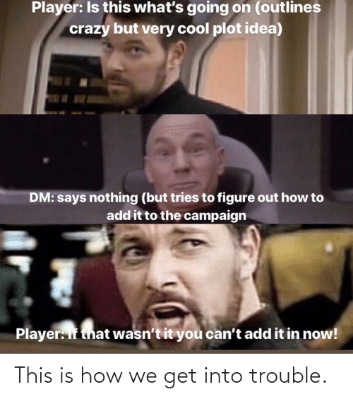 Says Nothing: Player: Is this what's going on (outlines  crazy but very cool plot idea)  DM: says nothing (but tries to figure out how to  add it to the campaign  Player: If that wasn't it you can't add it in now! This is how we get into trouble.