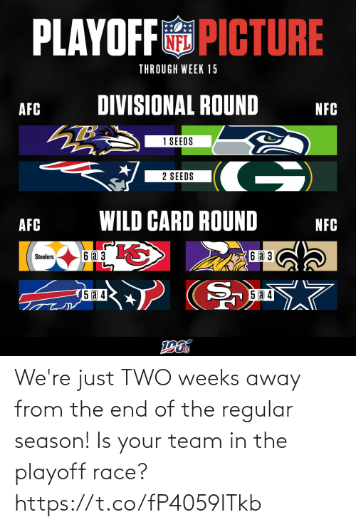 nfc: PLAYOFF PICTURE  THROUGH WEEK 15  DIVISIONAL ROUND  AFC  NFC  1 SEEDS  G)  2 SEEDS  WILD CARD ROUND  AFC  NFC  6аз  6 a 3  Steelers  5 a 4  15 @ 4 We're just TWO weeks away from the end of the regular season! Is your team in the playoff race? https://t.co/fP4059ITkb