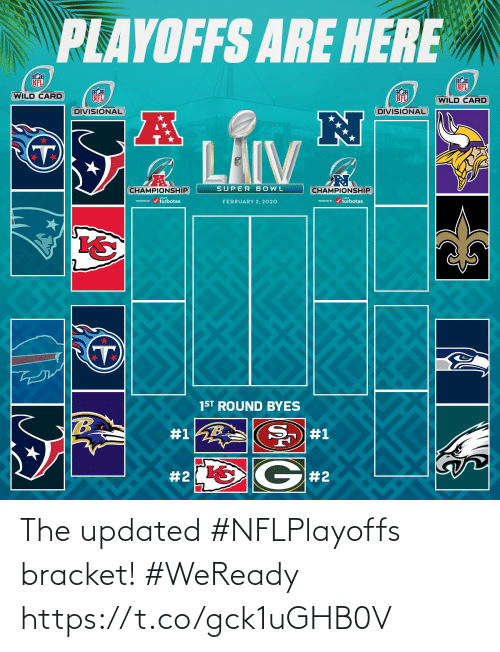 february: PLAYOFFS ARE HERE  NFL  NFL  WILD CARD  NFL  NFL  (WILD CARD  DIVISIONAL  DIVISIONAL  LAIV  SUPER BOWL  CHAMPIONSHIP  CHAMPIONSHIP  PESEND / turbotax.  ESEVID r / turbotax.  FEBRUARY 2, 2020  1ST ROUND BYES  #1  #1  G#2  The updated #NFLPlayoffs bracket! #WeReady https://t.co/gck1uGHB0V