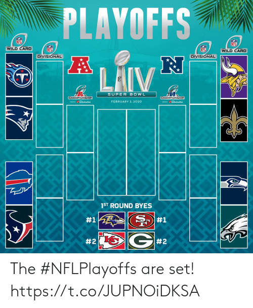 february: PLAYOFFS  NFL  NFL  WILD CARD  NFL  NFL  (WILD CARD  DIVISIONAL  DIVISIONAL  LAIV  SUPER BOWL  CHAMPIONSHIP  CHAMPIONSHIP  / turbotaxlive  FEBRUARY 2, 2020  m / turbotaxlive  1ST ROUND BYES  #1  #1  G#2  The #NFLPlayoffs are set! https://t.co/JUPNOiDKSA