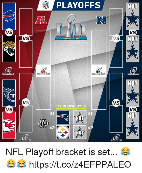 Meme Guy: PLAYOFFS  NO  NFL  R.  VS  VS  NO  VS  VS  SUPER BOWL  WILD CARD  CHAMPİONSHİP  CHAMPIONSHIP  WILD CARD  NOT  VS  1ST ROUND BYES  VS  NOT  #1  #1  NOT  NFL  MEME  GUY  #2  #2  「NOT  Steelers  DIVISIONAL  DIVISIONAL NFL Playoff bracket is set... 😂😂😂 https://t.co/z4EFPPALEO