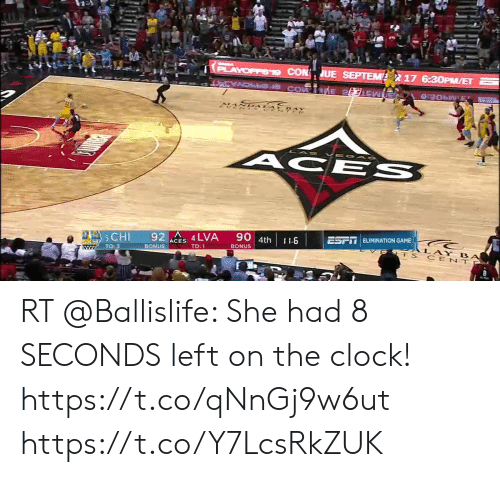Clock, Memes, and Game: PLAYOFFS19 CON UE SEPTEM  17 6:3OPM/ET  7  VEO AS  ACE S  90 4th  ESFT ELIMINATION GAME  92 4 LVA  ACHI  I1.6  LAY BA  ET S CENTP  ACES  BONUS  TO:1  BONUS  TO: 3  www RT @Ballislife: She had 8 SECONDS left on the clock!  https://t.co/qNnGj9w6ut https://t.co/Y7LcsRkZUK