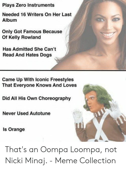Dogs, Meme, and Nicki Minaj: Plays Zero Instruments  Needed 16 Writers On Her Last  Album  Only Got Famous Because  Of Kelly Rowland  Has Admitted She Can't  Read And Hates Dogs  Came Up With Iconic Freestyles  That Everyone Knows And Loves  Did All His Own Choreography  Never Used Autotune  Is Orange That's an Oompa Loompa, not Nicki Minaj. - Meme Collection