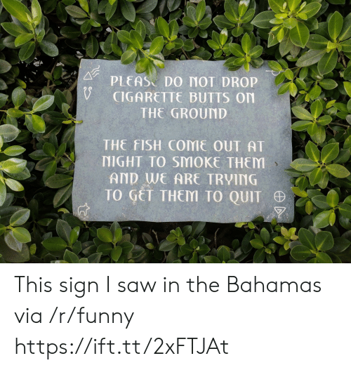 Bahamas: PLEAS DO MOT DROP  CIGARETTE BUTTS On  THE GROUND  THE FISH COME OUT AT  NIGHT TO SMOKE THEM  AND WE ARE TRVING  TO GET THEM TO QUIT This sign I saw in the Bahamas via /r/funny https://ift.tt/2xFTJAt