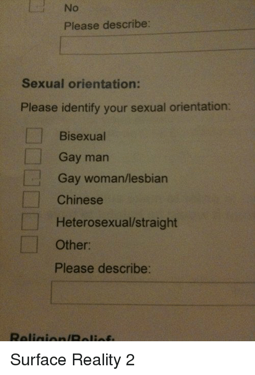 Bisexu: Please describe:  Sexual orientation:  Please identify your sexual orientation:  Bisexual  Gay man  Gay woman/lesbian  Chinese  Heterosexual/straight  Other  Please describe: Surface Reality 2