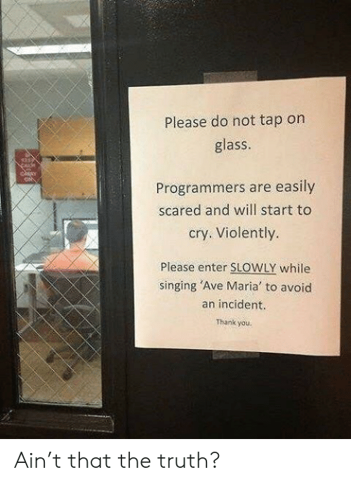 Singing, Thank You, and Truth: Please do not tap on  glass  Programmers are easily  scared and will start to  cry. Violently.  Please enter SLOWLY while  singing 'Ave Maria to avoid  an incident.  Thank you. Ain't that the truth?