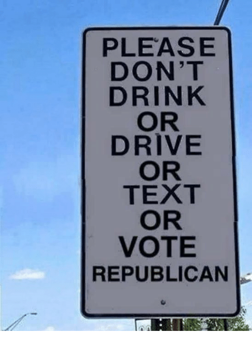 Voting Republican: PLEASE  DON'T  DRINK  OR  DRIVE  OR  TEXT  OR  VOTE  REPUBLICAN