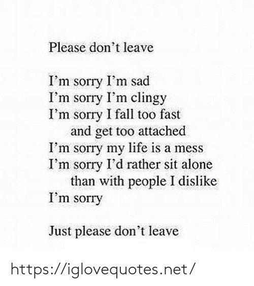 rather: Please don't leave  I'm sorry I'm sad  I'm sorry I'm clingy  I'm sorry I fall too fast  and get too attached  I'm sorry my life is a mess  I'm sorry I'd rather sit alone  than with people I dislike  I'm sorry  Just please don't leave https://iglovequotes.net/