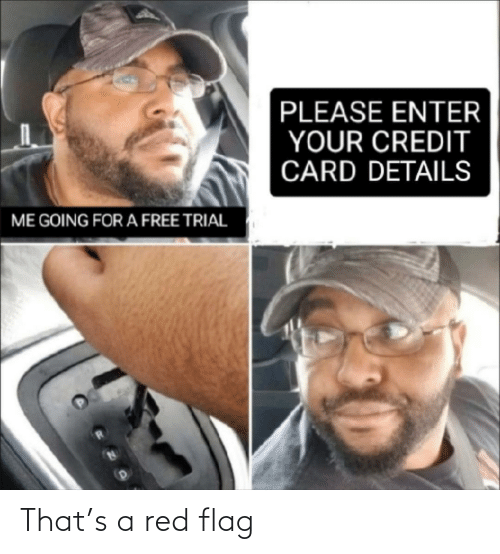 credit card: PLEASE ENTER  YOUR CREDIT  CARD DETAILS  ME GOING FOR A FREE TRIAL That's a red flag