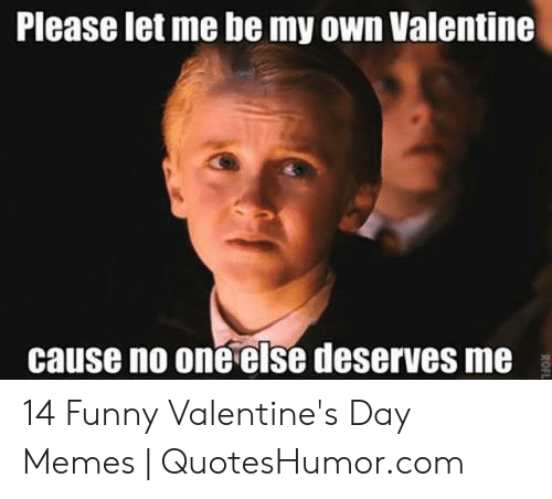 Funny, Memes, and Valentine's Day: Please let me be my own Valentine  cause no one else deserves me 14 Funny Valentine's Day Memes | QuotesHumor.com