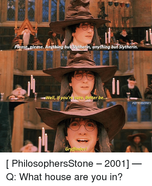 slytherins: Please please. Anything but Slytherin, anything but Slytherin.  Well, ifyou're sure. Better be..  POTTERSCENES  ryfiu [ PhilosophersStone – 2001] — Q: What house are you in?