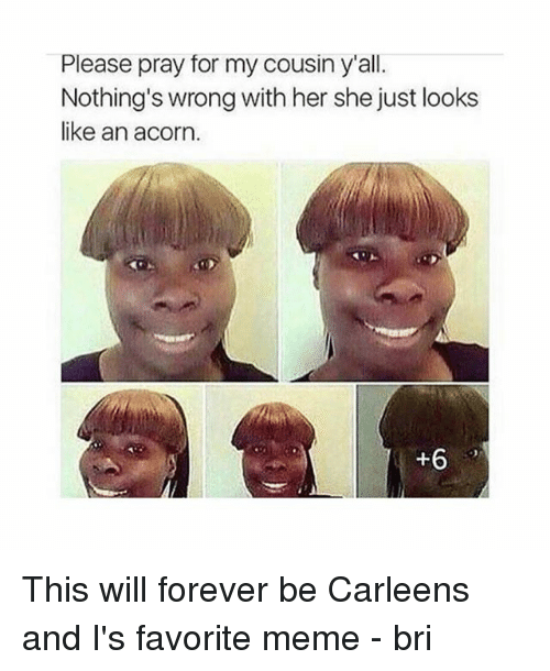 acorn: Please pray for my cousin y'all.  Nothing's wrong with her she just looks  like an acorn.  +6 This will forever be Carleens and I's favorite meme - bri