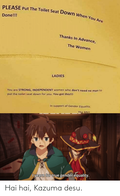 Anime, True, and Women: PLEASE Put The Toilet Seat Down when You Are  Done!!!  Thanks In Advance,  The Women  LADIES  You are STRONG, INDEPENDENT women who don't need no man to  put the toilet seat down for you. You got this!!!  In support of Gender Equality,  The Men  I yearn for true gender equality. Hai hai, Kazuma desu.