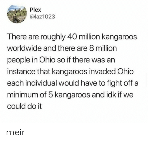 Roughly: Plex  @laz1023  There are roughly 40 million kangaroos  worldwide and there are 8 million  people in Ohio so if there was an  instance that kangaroos invaded Ohio  each individual would have to fight off a  minimum of 5 kangaroos and idk if we  could do it meirl