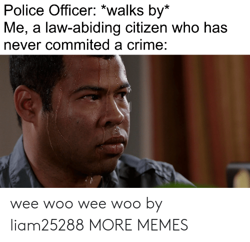 Crime, Dank, and Memes: Police Officer: *walks by*  Me, a law-abiding citizen who has  never commited a crime: wee woo wee woo by liam25288 MORE MEMES
