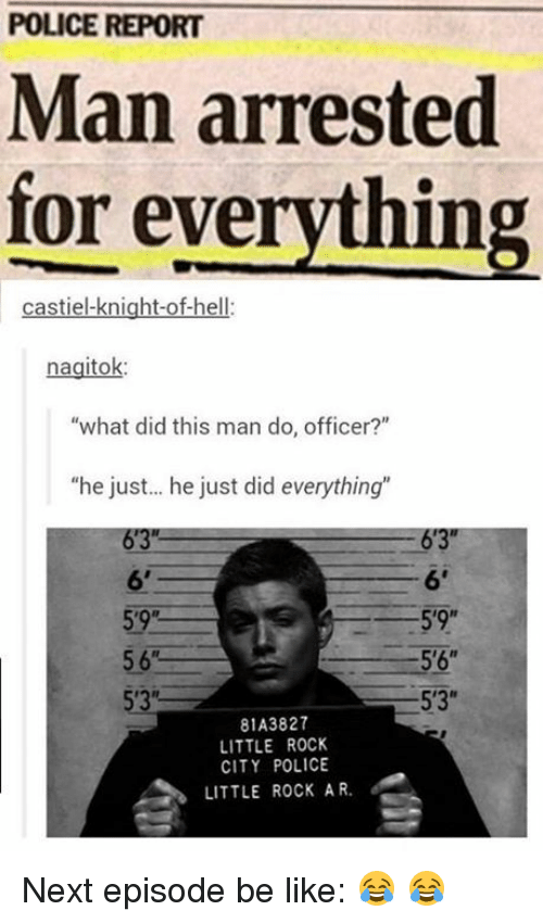 "Memes, Citi, and Office: POLICE REPORT  Man arrested  for everything  castiel-knight-of-hell:  nagitok:  ""what did this man do, officer?""  ""he just... he just did everything""  6'3""  6'  59R  5'9""  5'6""  5'3""  81A3827  LITTLE ROCK  CITY POLICE  LITTLE ROCK AR. Next episode be like: 😂 😂"