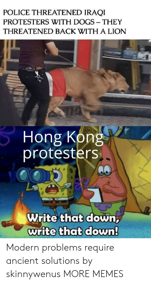 Dank, Dogs, and Memes: POLICE THREATENED IRAQI  PROTESTERS WITH DOGS THEY  THREATENED BACK WITH A LION  Hong Kong  protesters  Write that down,  write that down! Modern problems require ancient solutions by skinnywenus MORE MEMES