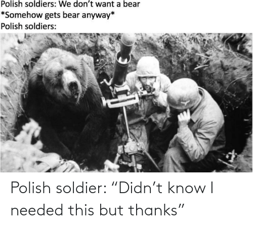 "thanks: Polish soldier: ""Didn't know I needed this but thanks"""
