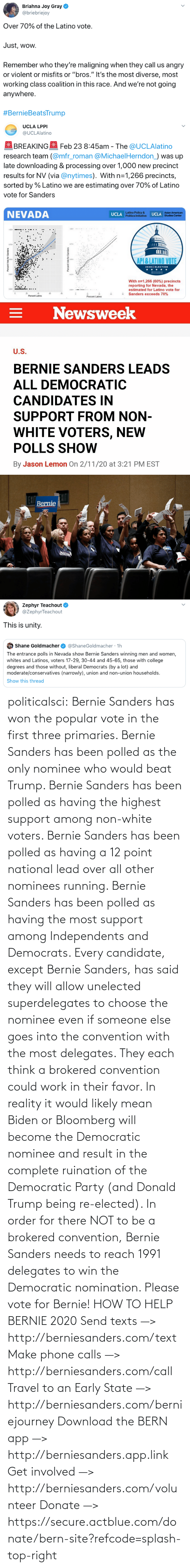 Bernie Sanders, Donald Trump, and Party: politicalsci: Bernie Sanders has won the popular vote in the first three primaries. Bernie Sanders has  been polled as the only nominee who would beat Trump. Bernie Sanders  has been polled as having the highest support among non-white voters.  Bernie Sanders has been polled as having a 12 point national lead over  all other nominees running. Bernie Sanders has been polled as having the most support among Independents and Democrats.  Every candidate, except Bernie Sanders, has said they will allow  unelected superdelegates to choose the nominee even if someone else goes  into the convention with the most delegates. They each think a brokered  convention could work in their favor. In  reality it would likely mean Biden or Bloomberg will become the  Democratic nominee and result in the complete ruination of the  Democratic Party (and Donald Trump being re-elected). In order for there  NOT to be a brokered  convention, Bernie Sanders needs to reach 1991 delegates to win the  Democratic  nomination. Please vote for Bernie!  HOW TO HELP BERNIE 2020 Send texts —> http://berniesanders.com/text  Make phone calls —> http://berniesanders.com/call  Travel to an Early State —> http://berniesanders.com/berniejourney  Download the BERN app —> http://berniesanders.app.link  Get involved —> http://berniesanders.com/volunteer Donate —> https://secure.actblue.com/donate/bern-site?refcode=splash-top-right
