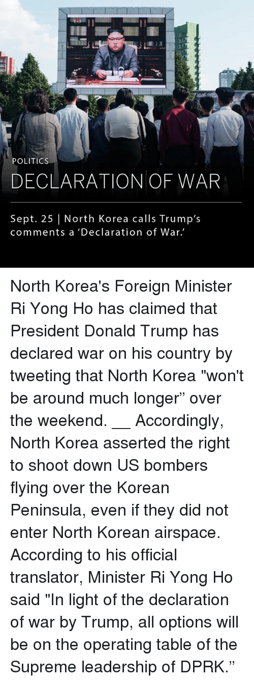 """Donald Trump, Memes, and North Korea: POLITIOs  DECLARATION OF WAR  Sept. 25 