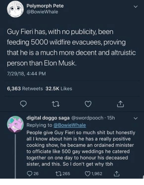 Guy Fieri, Shit, and Tbh: Polymorph Pete  @BowieWhale  Guy Fieri has, with no publicity, been  feeding 5000 wildfire evacuees, proving  that he is a much more decent and altruistic  person than Elon Musk.  7/29/18, 4:44 PM  6,363 Retweets 32.5K Likes  digital doggo saga @swordpooch 15h  Replying to @BowieWhale  People give Guy Fieri so much shit but honestly  all I know about him is he has a really positive  cooking show, he became an ordained minister  to officiate like 500 gay weddings he catered  together on one day to honour his deceased  sister, and this. So I don't get why tbh  9 26  265 v1.962で