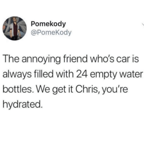We Get It: Pomekody  @PomeKody  The annoying friend who's car is  always filled with 24 empty water  bottles. We get it Chris, you're  hydrated.