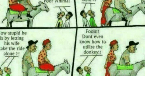 utilize: Poor  AHIMa  ow stupld he  is by letting  his wife  ake the ride  alone 2!  Foolst  Dont evern  know how to  utilize the  donkey!
