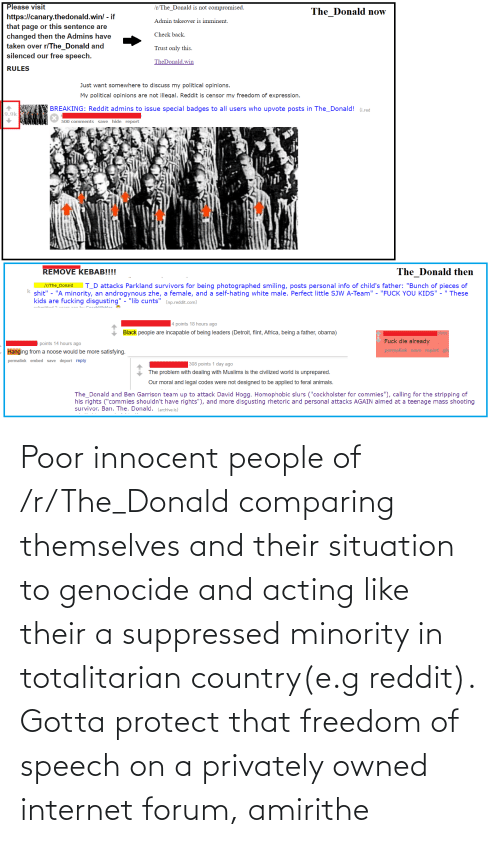 The Donald: Poor innocent people of /r/The_Donald comparing themselves and their situation to genocide and acting like their a suppressed minority in totalitarian country(e.g reddit). Gotta protect that freedom of speech on a privately owned internet forum, amirithe