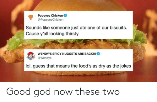 God, Lol, and Popeyes: Popeyes Chicken  @Popeyes Chicken  Sounds like someone just ate one of our biscuits  Cause y'all looking thirsty.  WENDY'S SPICY NUGGETS ARE BACK!!!  @Wendys  lol, guess that means the food's as dry as the jokes Good god now these two