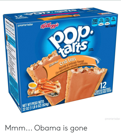 Bailey Jay, Obama, and Fat: @poptartaday  200 | 1.5, | 210.mg.19g  SAT FAT | SODIUM I SUGARS  CALORIES  8% DV  9% DV  PER 1 PASTRY  atts  Crab Lees  taris  toaster  pastries  Naturally &Artificialy Flavored  Con saborizantes naturales y artificia  12  NET WT/PESO NETO  220Z(1 LB602) 1624  TOASTER PASTRIES  ASTELILLOS PARA TOSTAR  artaday Mmm... Obama is gone