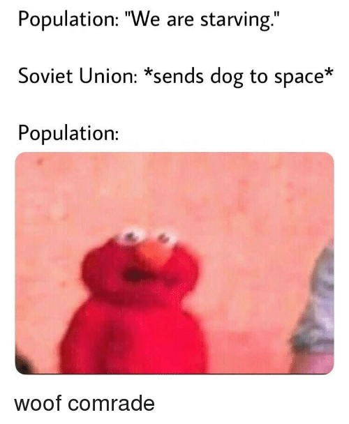 """Space, Soviet, and Soviet Union: Population: """"We are starving.""""  Soviet Union: *sends dog to space*  Population: woof comrade"""