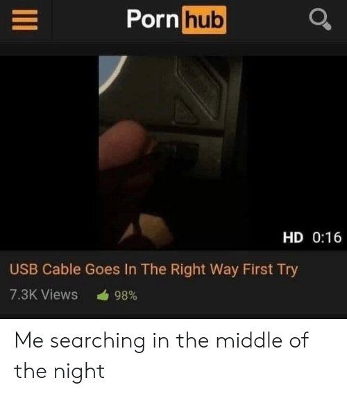 Porn Hub, Porn, and The Middle: Porn hub  HD 0:16  USB Cable Goes In The Right Way First Try  7.3K Views  98% Me searching in the middle of the night