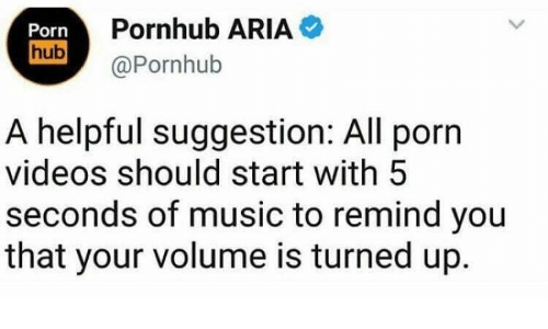 Music, Porn Hub, and Pornhub: Porn  hub  Pornhub ARIA  @Pornhub  A helpful suggestion: All porn  videos should start with 5  seconds of music to remind you  that your volume is turned up.