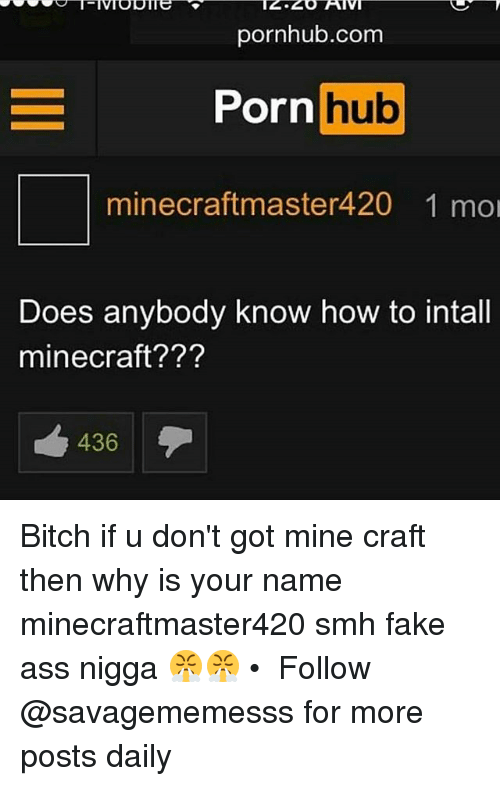 mine craft: pornhub.com  Porn hub  minee craft master420 1 mol  Does anybody know how to intall  mine craft???  436 Bitch if u don't got mine craft then why is your name minecraftmaster420 smh fake ass nigga 😤😤 • ➫➫ Follow @savagememesss for more posts daily