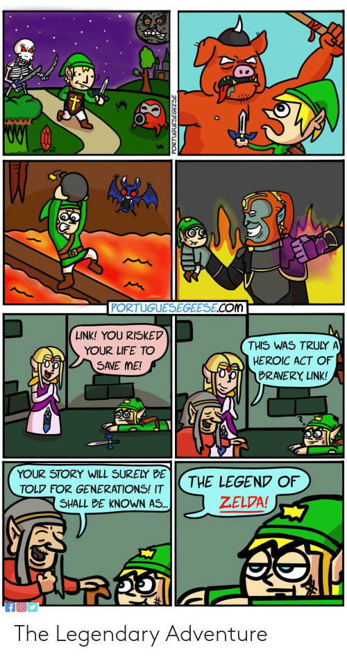 Life, Link, and Zelda: PORTUGUESEGEESE COM  LINK! YOU RISKEV  YOUR LIFE TO  SAVE ME!  THIS WAS TRULY A  HEROIC ACT OF  BRAVERY LINK!  jp  91 |  YOUR STORY WILL SURELY BE  TOLP FOR GENERATIONS! IT  SHALL bE KNOWN AS  THE LEGEND OF  ZELDA! The Legendary Adventure