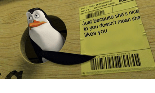 Mean, Nice, and Pos: POs 051  Just because she's nice  to you doesn't mean she  likes you