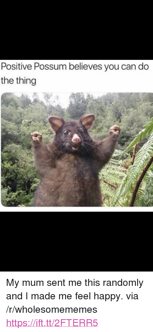 """Happy, Possum, and The Thing: Positive Possum believes you can do  the thing <p>My mum sent me this randomly and I made me feel happy. via /r/wholesomememes <a href=""""https://ift.tt/2FTERR5"""">https://ift.tt/2FTERR5</a></p>"""