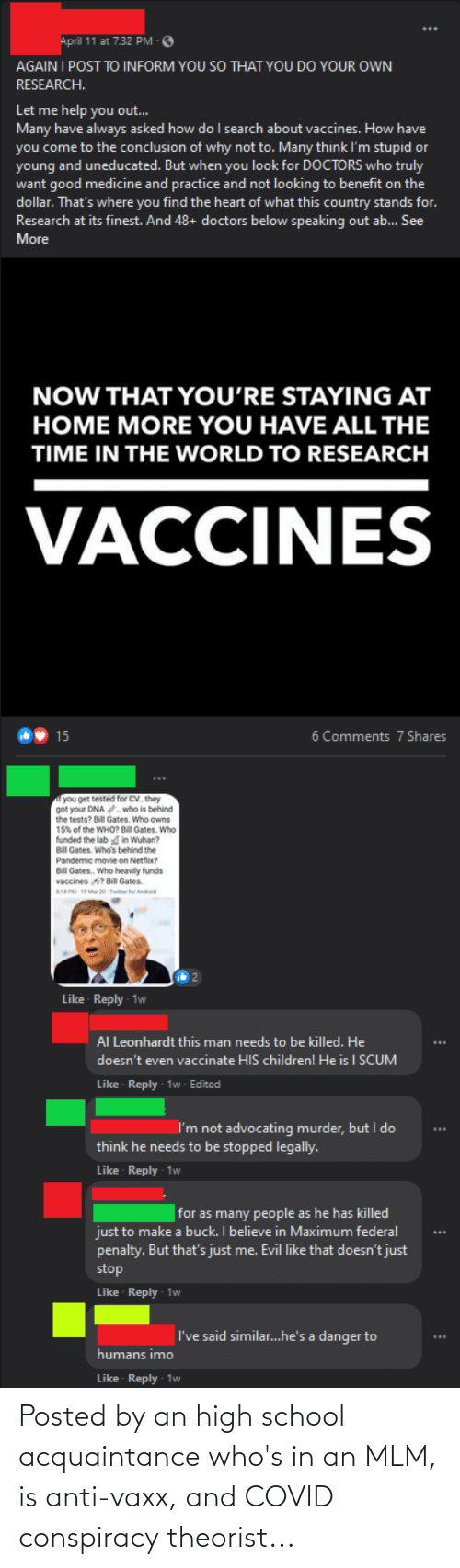 Conspiracy: Posted by an high school acquaintance who's in an MLM, is anti-vaxx, and COVID conspiracy theorist...