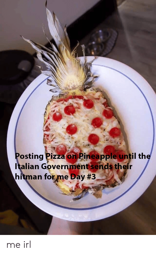 hitman: Posting Pizza on Pineapple until the  Italian Government sends their  hitman forme Day me irl