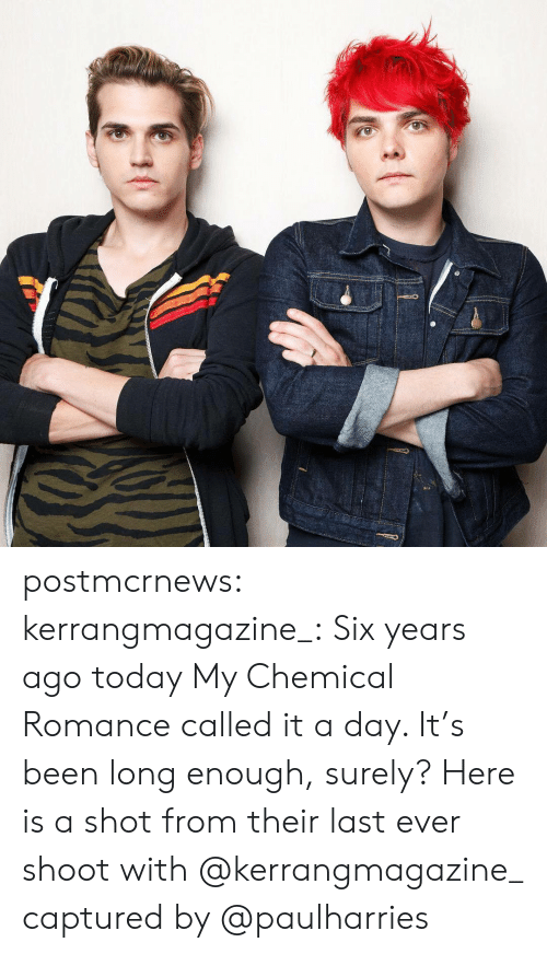 my chemical romance: postmcrnews: kerrangmagazine_: Six years ago today My Chemical Romance called it a day. It's been long enough, surely? Here is a shot from their last ever shoot with @kerrangmagazine_ captured by @paulharries