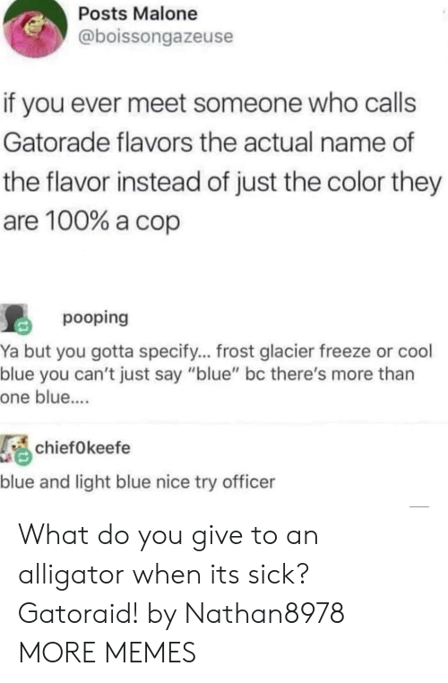 "Specify: Posts Malone  @boissongazeuse  if you ever meet someone who calls  Gatorade flavors the actual name of  the flavor instead of just the color they  are 100% a cop  pooping  Ya but you gotta specify... frost glacier freeze or cool  blue you can't just say ""blue"" bc there's more than  one blue....  chiefOkeefe  blue and light blue nice try officer What do you give to an alligator when its sick? Gatoraid! by Nathan8978 MORE MEMES"